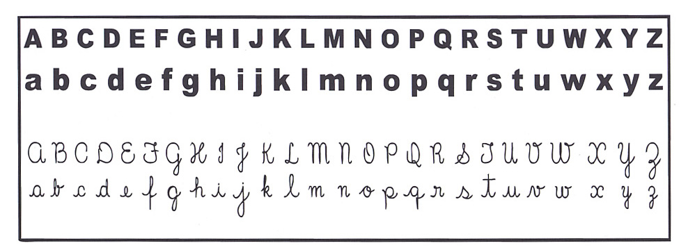 El abecedario en letra cursiva mayuscula y minuscula para imprimir ...