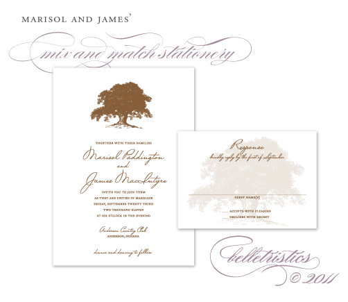 oak tree wedding invitation design printable diy