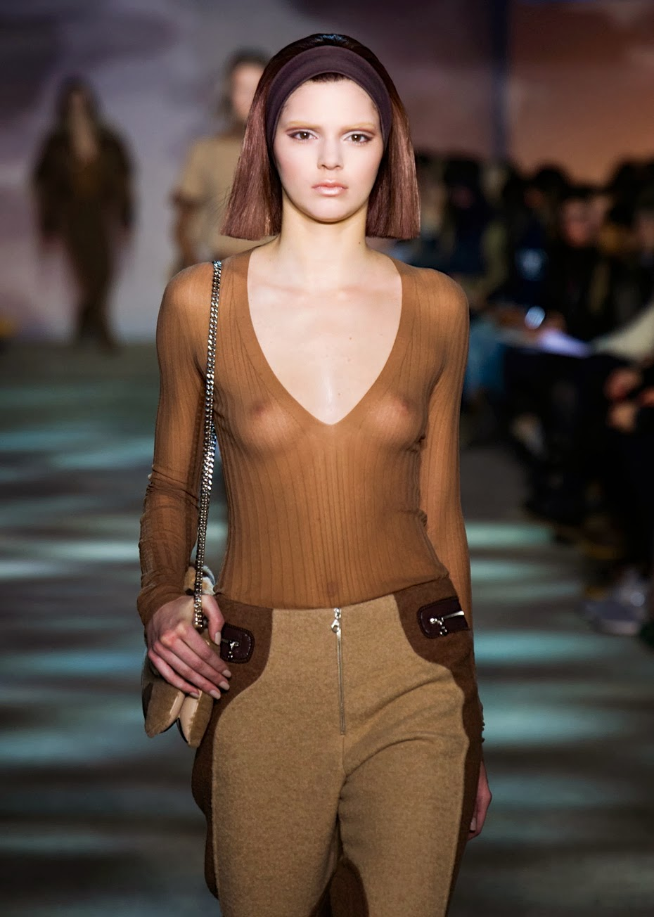 Kendall Jenner See Through Blouse Revealing Her Boobs At Marc Jacobs Fashion Show In New York