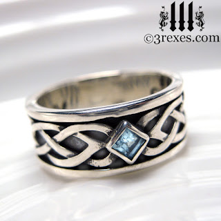 mens celtic knot wedding ring soul love with december blue topaz stone sterling silver