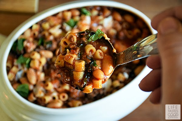 Pasta Fagioli is a traditional Pasta and Beans Italian soup. It is oh so comforting and delish!