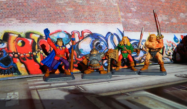 Heroquest, Heroes, Painted, Dwarf, Wizard, Barbarian, Elf, Oldhammer, group