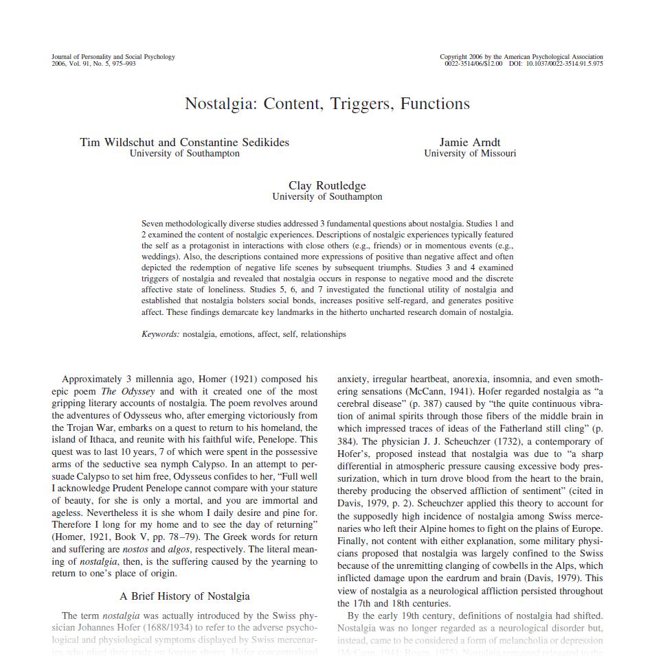Nostalgia research paper