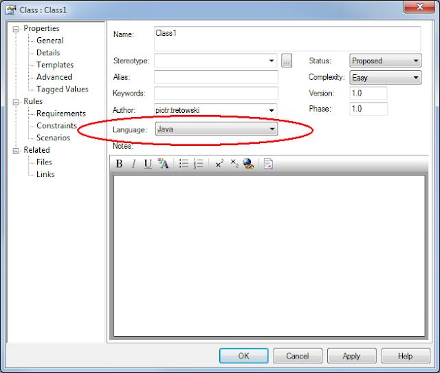 EA - właściwości klasy - ustawiony język: Java