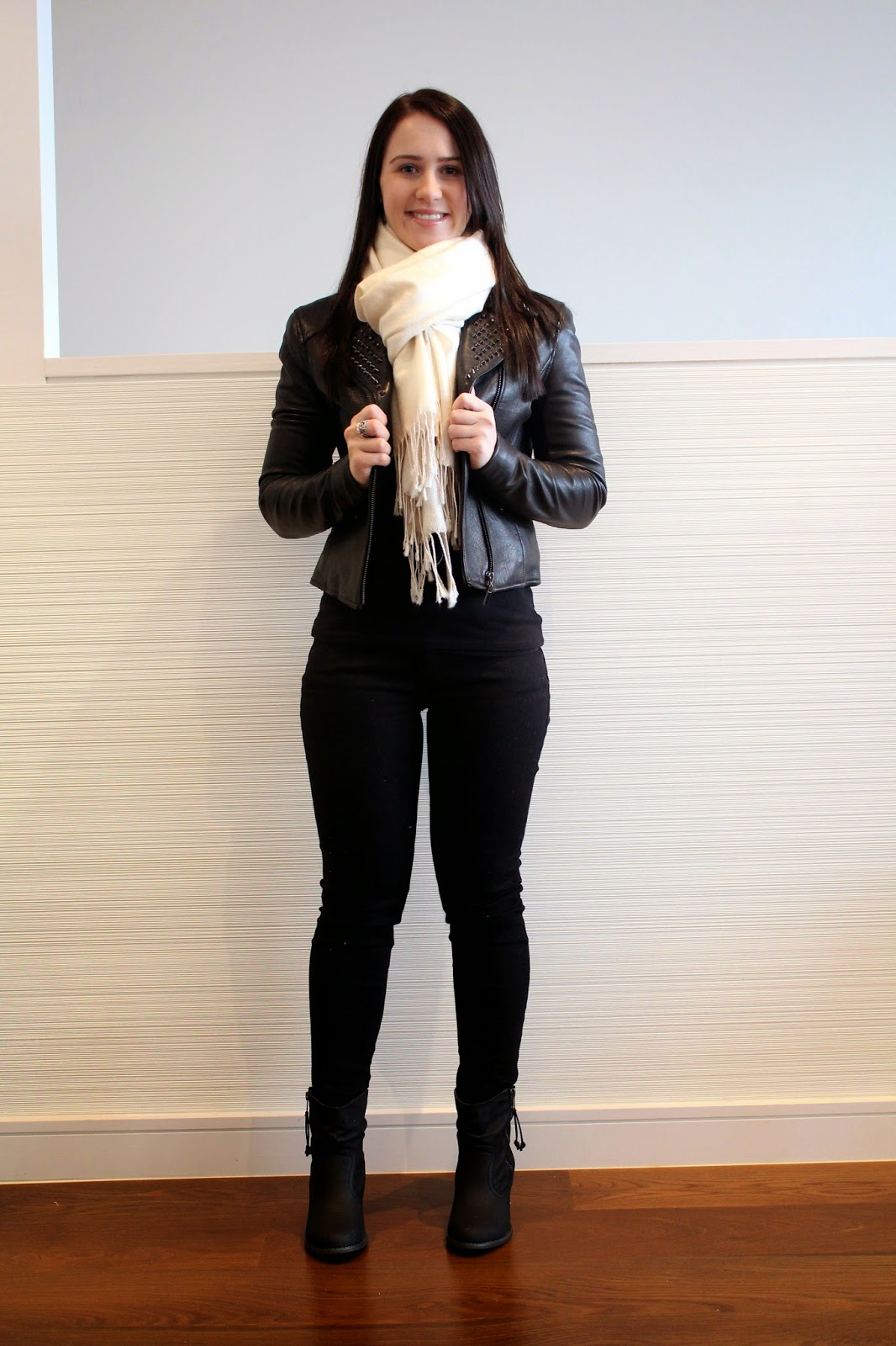 Black jeans, black long sleeved top, black booties, cream scarf, black studded leather jacket, melbourne outfit, winter outfit, everyday outfit, petite girl outfit, all black outfit, leather outfit, freezing weather outfit