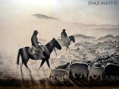 'Arrieros al alba', obra del artista argentino Esteban Díaz Mathe, tomada de http://www.diazmathe.com/