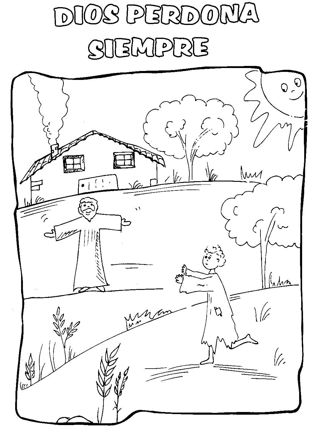 Dibujo de un hombre pidiendo perdón a Dios para Colorear ~ Colorea ...