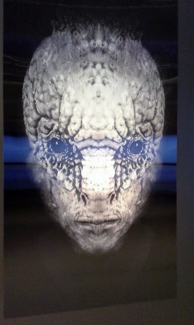 David Cronenberg Evolution Exhibit at TIFF Lightbox in Toronto Film director writer producer props costumes naked lunch art movies face morphing sign.