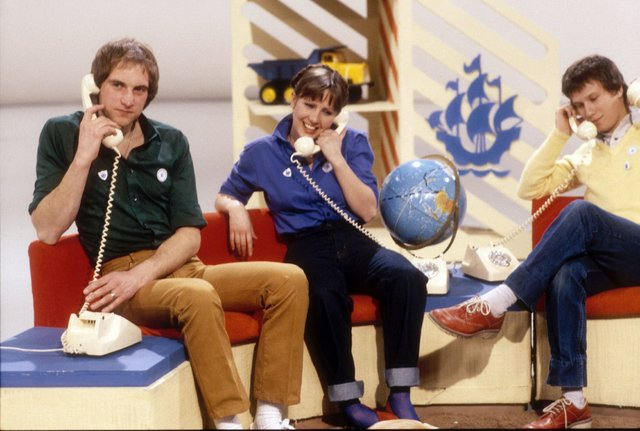 Blue Peter Presenters Simon Groom Sarah Greene Peter Duncan