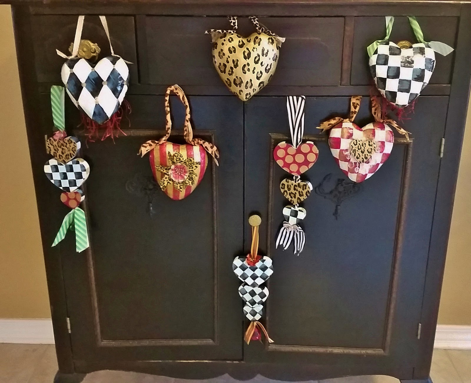 hand painted paper mache hearts