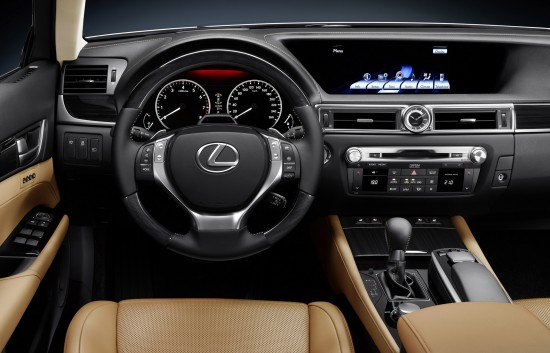 Tan leather with black dashboard 2012 Lexus GS350 interior featuring huge center dash nav screen