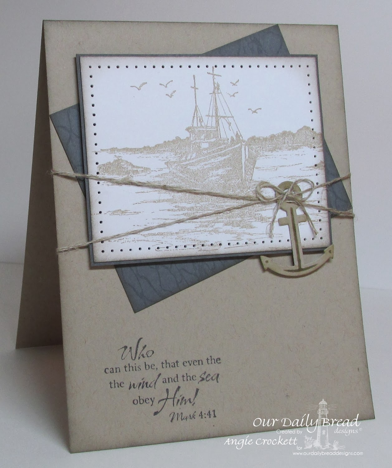 ODBD The Waves on the Sea, Fishing Net Background, Card Designer Angie Crockett