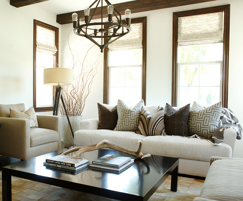 Interior Window Casing Styles : love the way the dark casings frame this soft roman shade