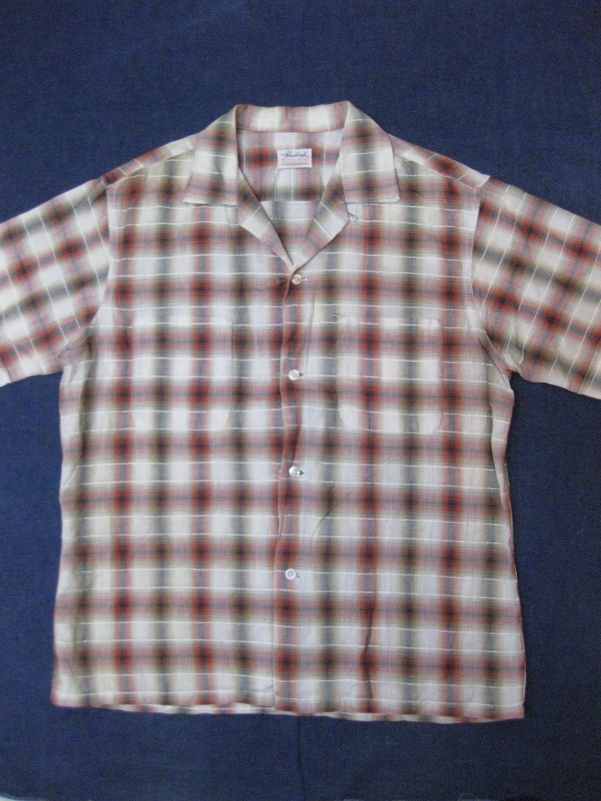 50's~                Pennleigh  Dan River                OMBRE CHECK           SHORT SLEEVE SHIRTS