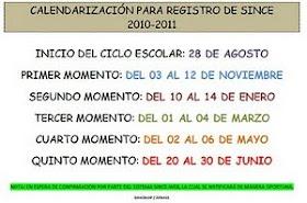 REGISTRO DE SINCE Y SICEV