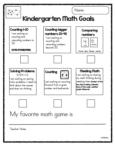 Preschool Math Goals And Objectives : Kindergarten Math Goals for ...