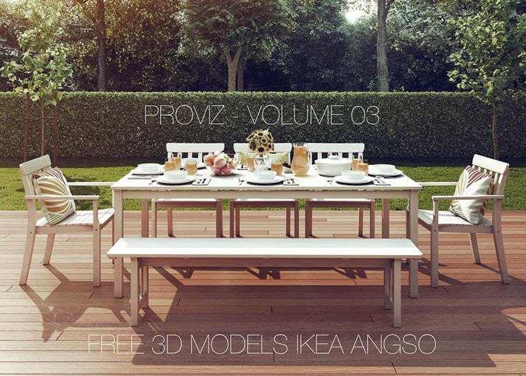 Ikea angso table chairs and bench but in black brown for Outdoor furniture 3d max