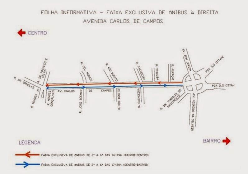 Faixa exclusiva para ônibus na Av. Carlos de Campos
