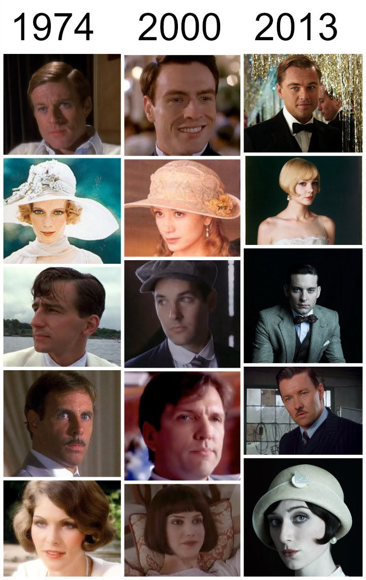 The Great Gatsby, 2000, 1974, 2013, character comparisons, Jay Gatsby, Daisy Buchanan, Jordan Baker, Nick Carraway, Leonardo DiCaprio, Carey Mulligan, Tobey Maguire, Robert Redford, Mia Farrow, Mira Sorvino, Paul Rudd, F Scott Fitzgerald, movie stills