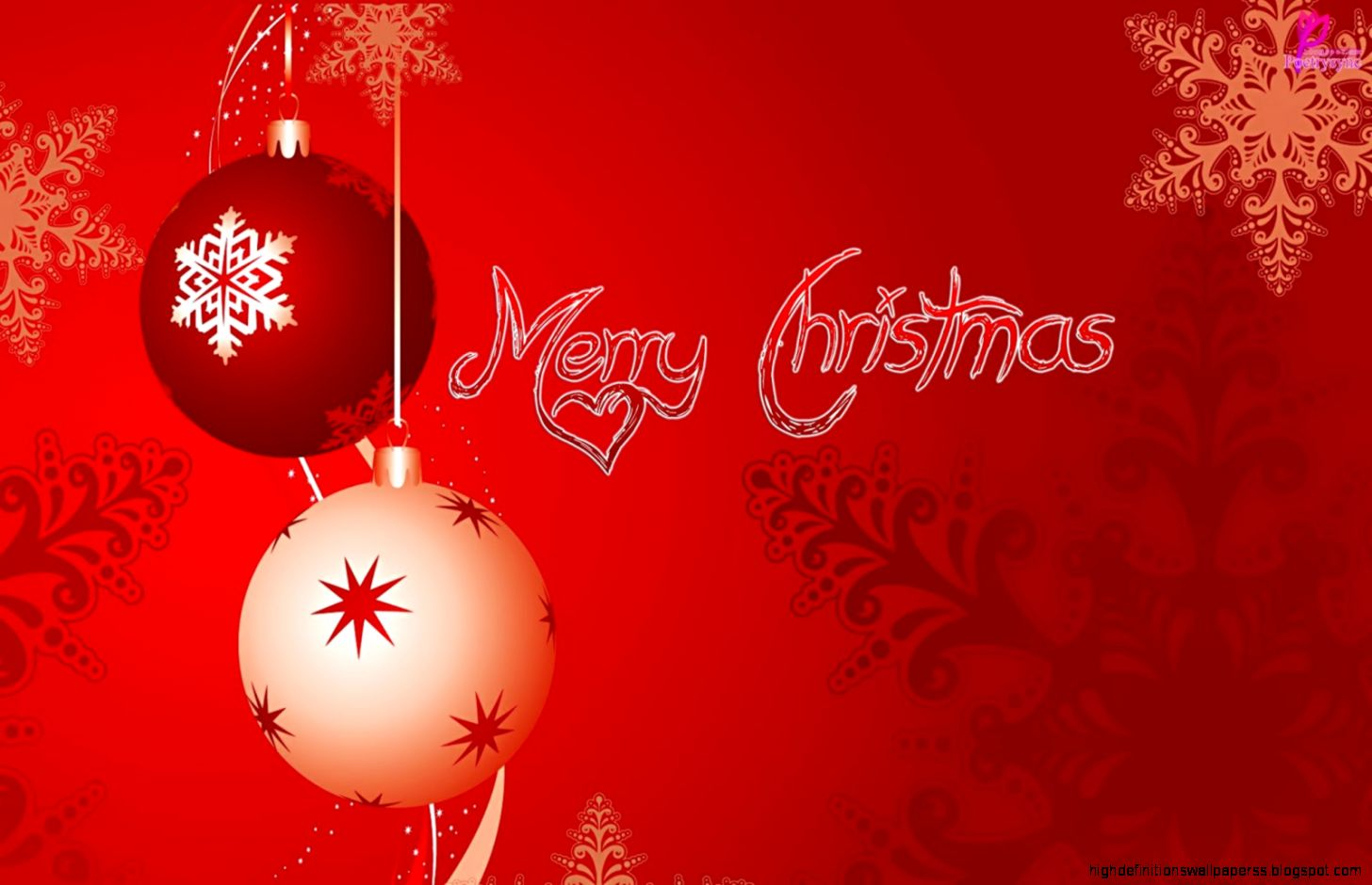 Merry Christmas And Happy New Year Red Ball Wallpaper High