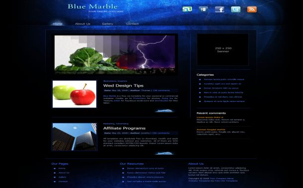 Free Dark Abstract Black Blue CSS Website Template
