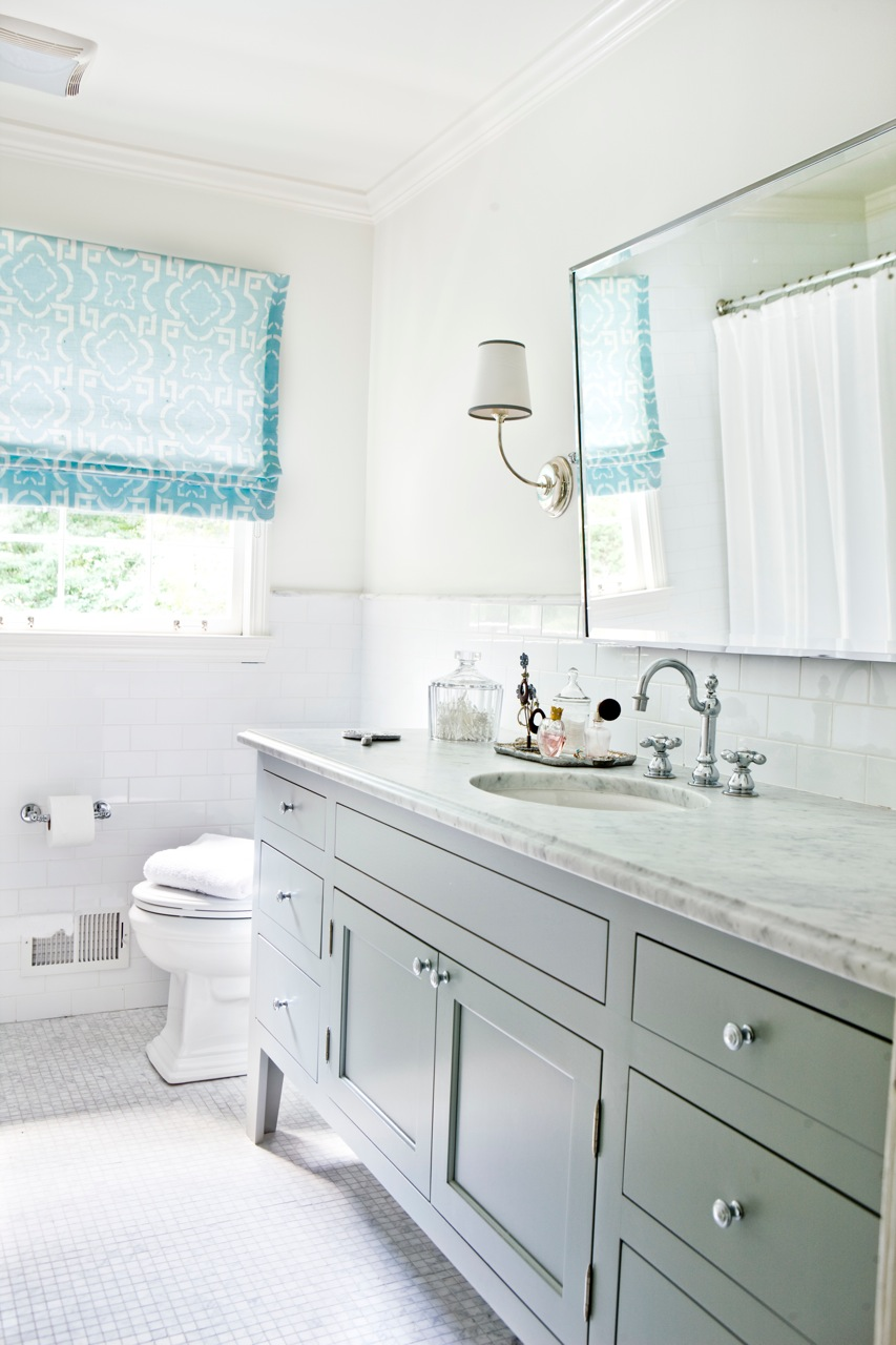 Cococozy see this house how interior designer melanie for Light blue and white bathroom ideas