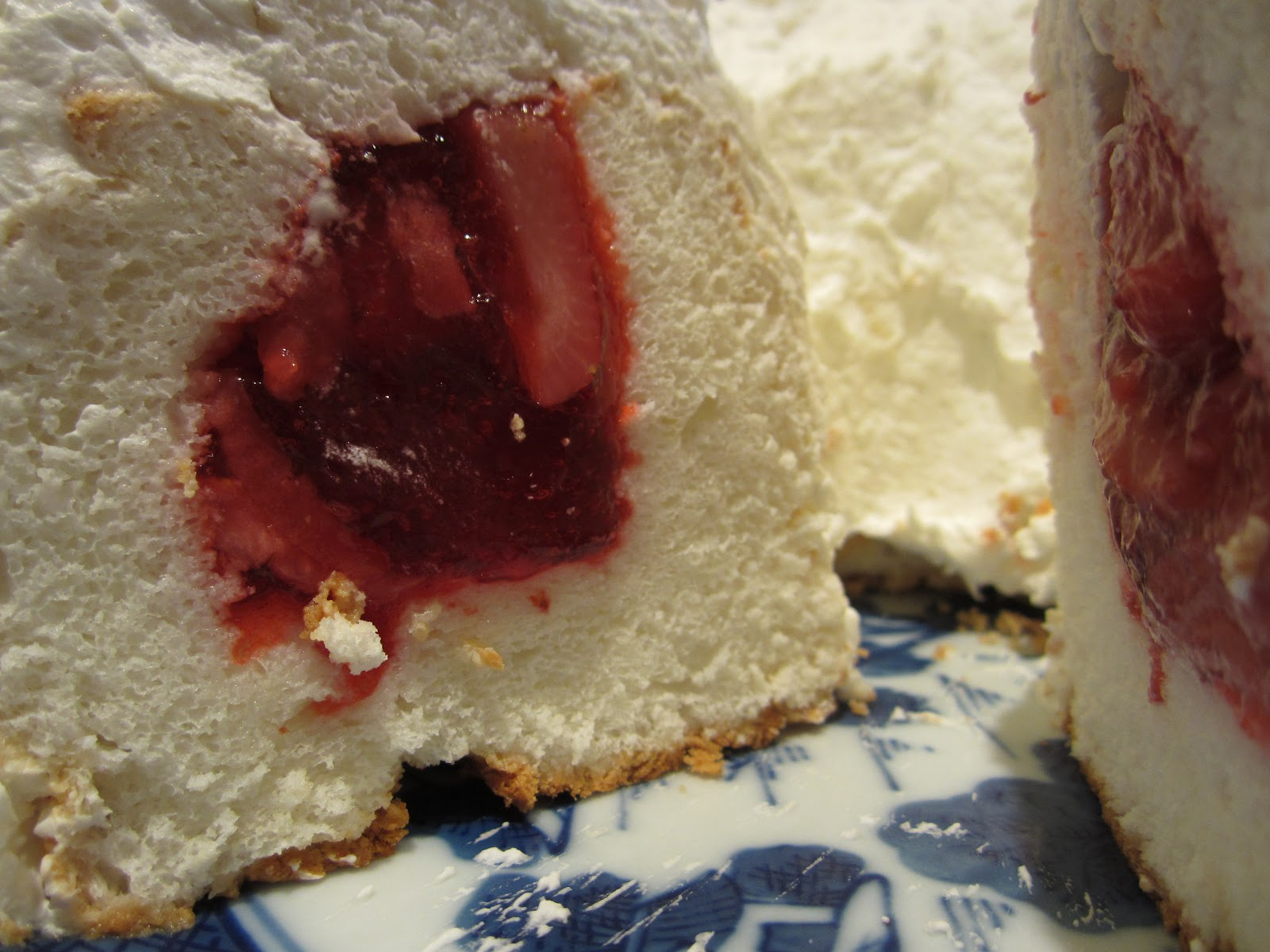 Strawberry Jello Filled Angel Food Cake