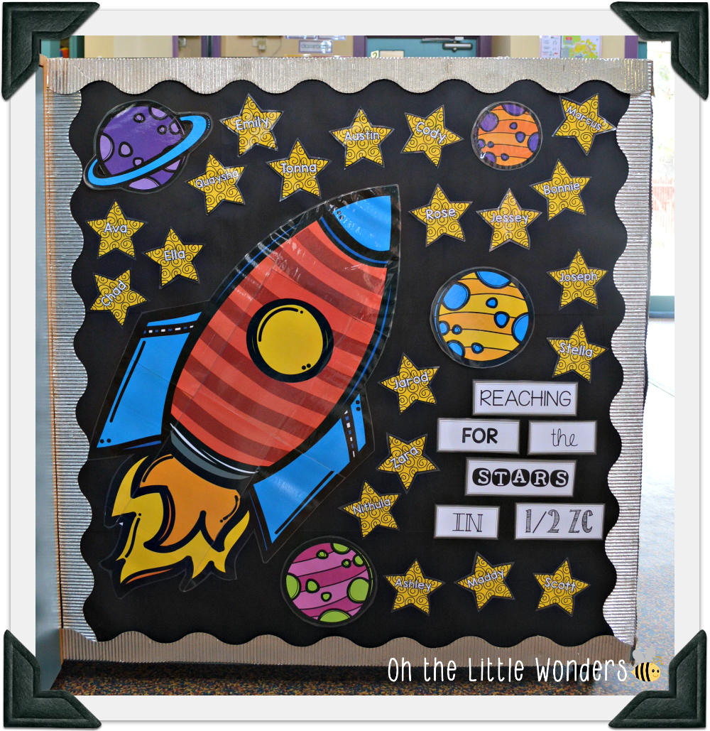 Oh the little wonders what 39 s new - Outer space classroom decorations ...