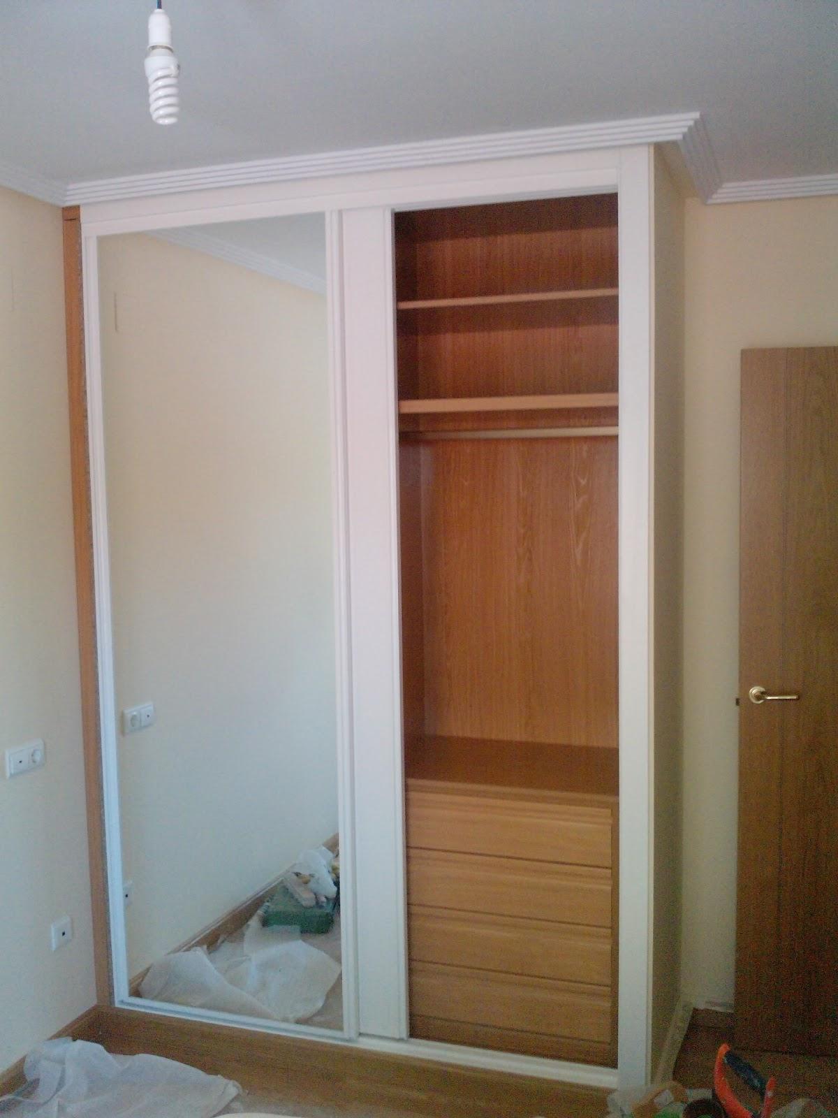 Adesivo De Madeira ~ Armario dos cuerpos, Lacado blanco+espejo SAMIPLAC
