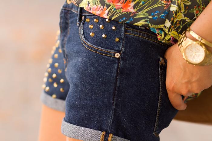 Studded denim shorts by Zara