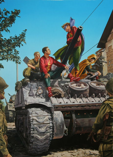 Justice Society of America on a Sherman Tank ..by John Watson