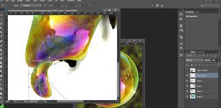 3.Kemudian kita lakukan pengamatan terhadap kupu kupu tersebut, berapa bagian utama yang terdapat pada foto kupu kupu tersebut, karena ini akan berkaitan dengan edit gambar yang akan kita lakukan berikutnya. Kali ini kami melihat ada sekitar 10 bagian tubuh utama dari foto kupu kupu tersebut. Yang harus kita lakukan adalah duplikasi layer gelembung sebanyak total 10 layer dan namai sesuai keinginan anda agar tidak bingung dalam melakukan edit gambar berikutnya.   4. Anda sekarang berada pada layer gelembung 1, anda lakukan transform dan warp pada layer gelembung 1 atur agar sesuai dengan latar kupu bagian tubuhnya, oh ya opacity dari layer gelembung 1 diturunkan dahulu agar kita bisa melihat latar belakang nya dan layer diatasnya di nonaktifkan dulu caranya klik gambar mata sebelah layer. Untuk melakukan warp caranya anda perhatikan pada menu bar photoshop cs anda, pilih tab edit kemudian pilih transform dan pilih warp.