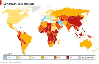 2013年 GDP成長率IMF予測 世界地図