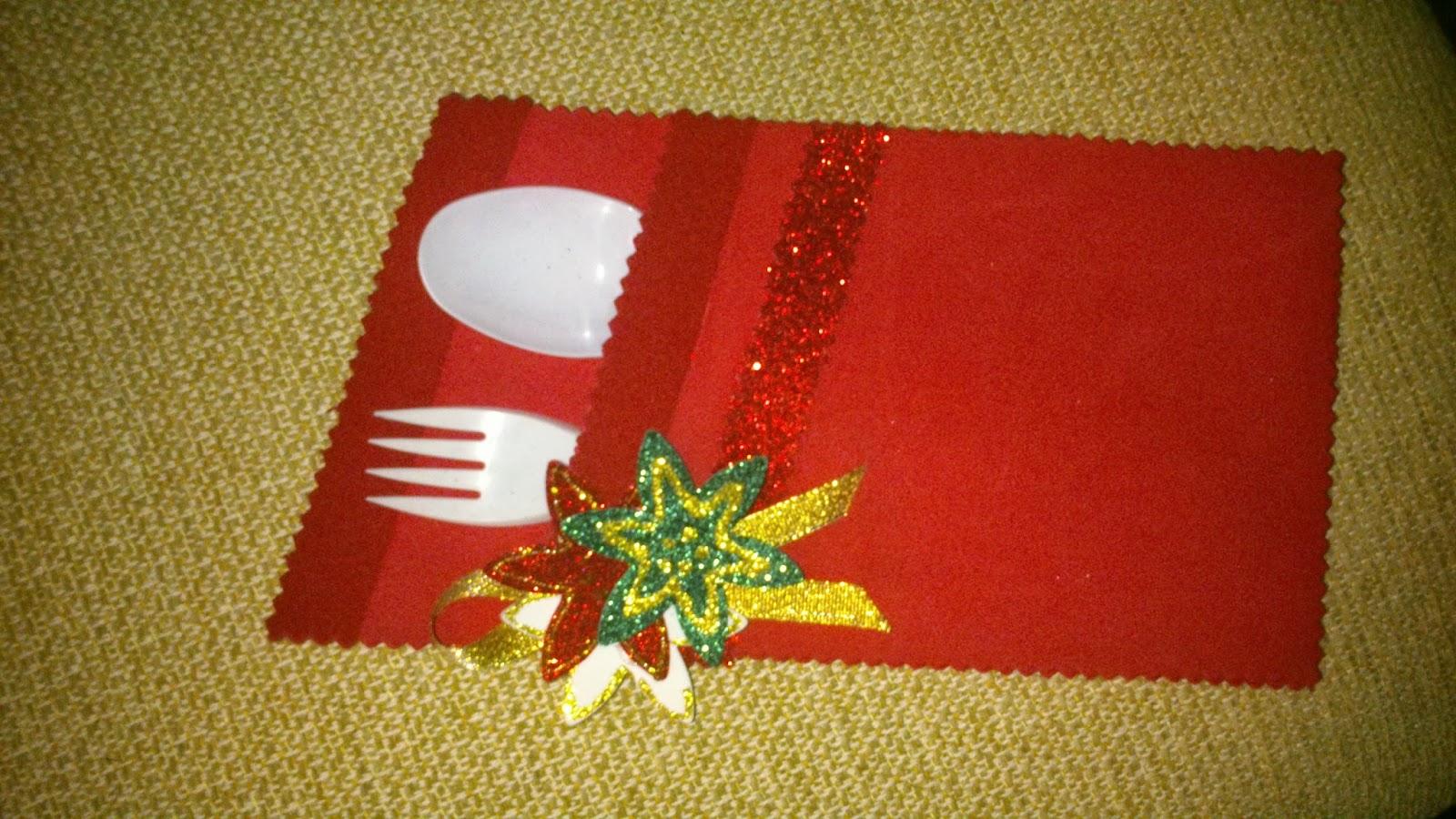 Las manualidades de carmen para guardar los cubiertos y - Manualidades para decorar la mesa en navidad ...