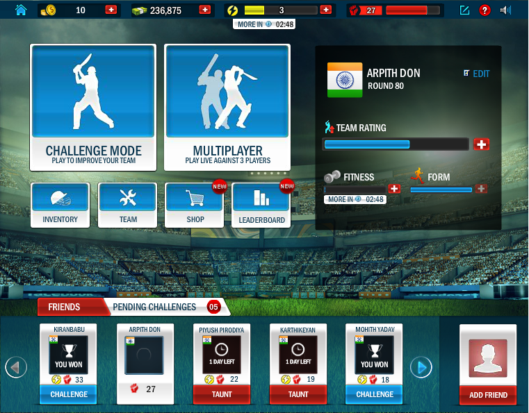 the howzat cricket app has following features single player gaming
