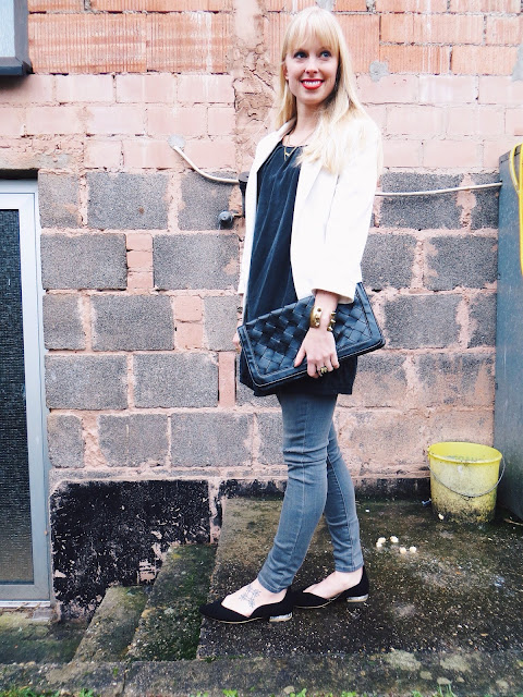 PersunMall white blazer, Old Navy grey ripped jeans, Alysia custom designed Mickey flats, Purpose Jewelry Harmony necklace, clutch, gold jewelry, business casual outfit, chic outfit