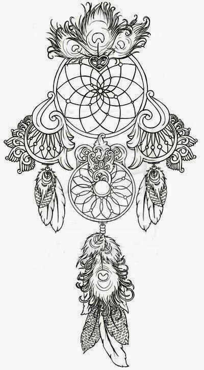 Dream-Catcher tattoo stencil