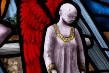 Stained glass Church portal : angel on Jacob's ladder