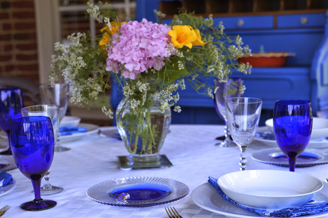 tables cape, hydrangea, day lilies, glass wear, cilantro, porch