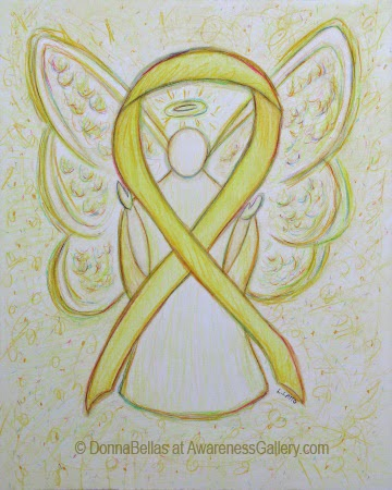 Yellow Guardian Angel Awareness Ribbon Image Picture