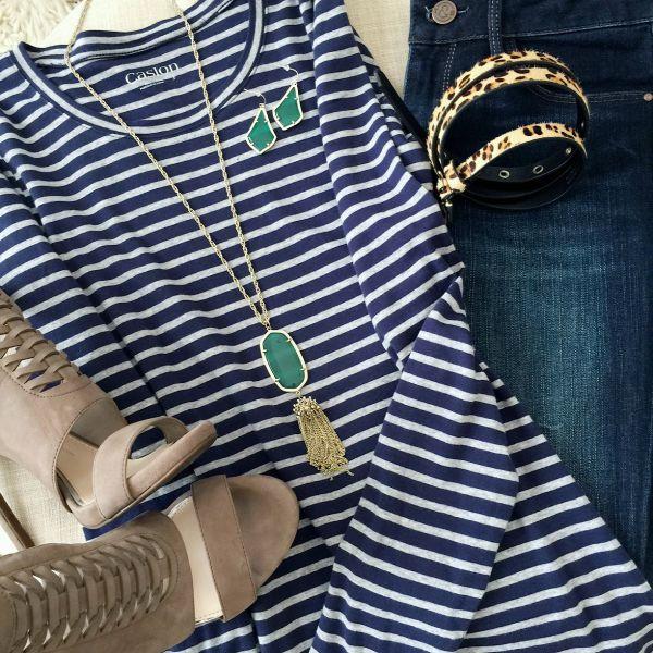 Fall fashion - striped top, dark skinny jeans, killer heels