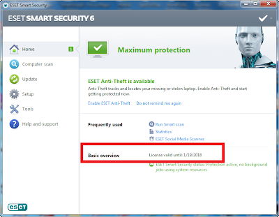 Eset Smart Security 6 Valid till 2018