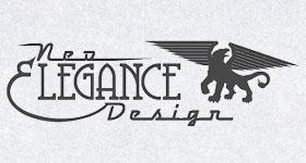 1950s script and 1890s typeface logo with black art deco griffin gryphon