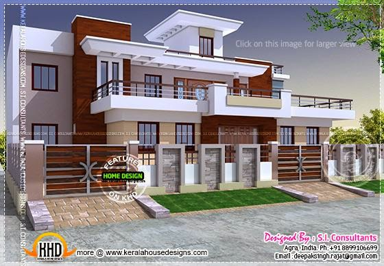 Modern style india house plan kerala home design and for Free indian house plans