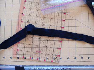 fix a low t-shirt neckline with a strip of binding