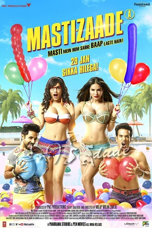 Poster Of Mastizaade 2016 Hindi 100MB DVDScr HEVC Mobile Free Download Watch Online