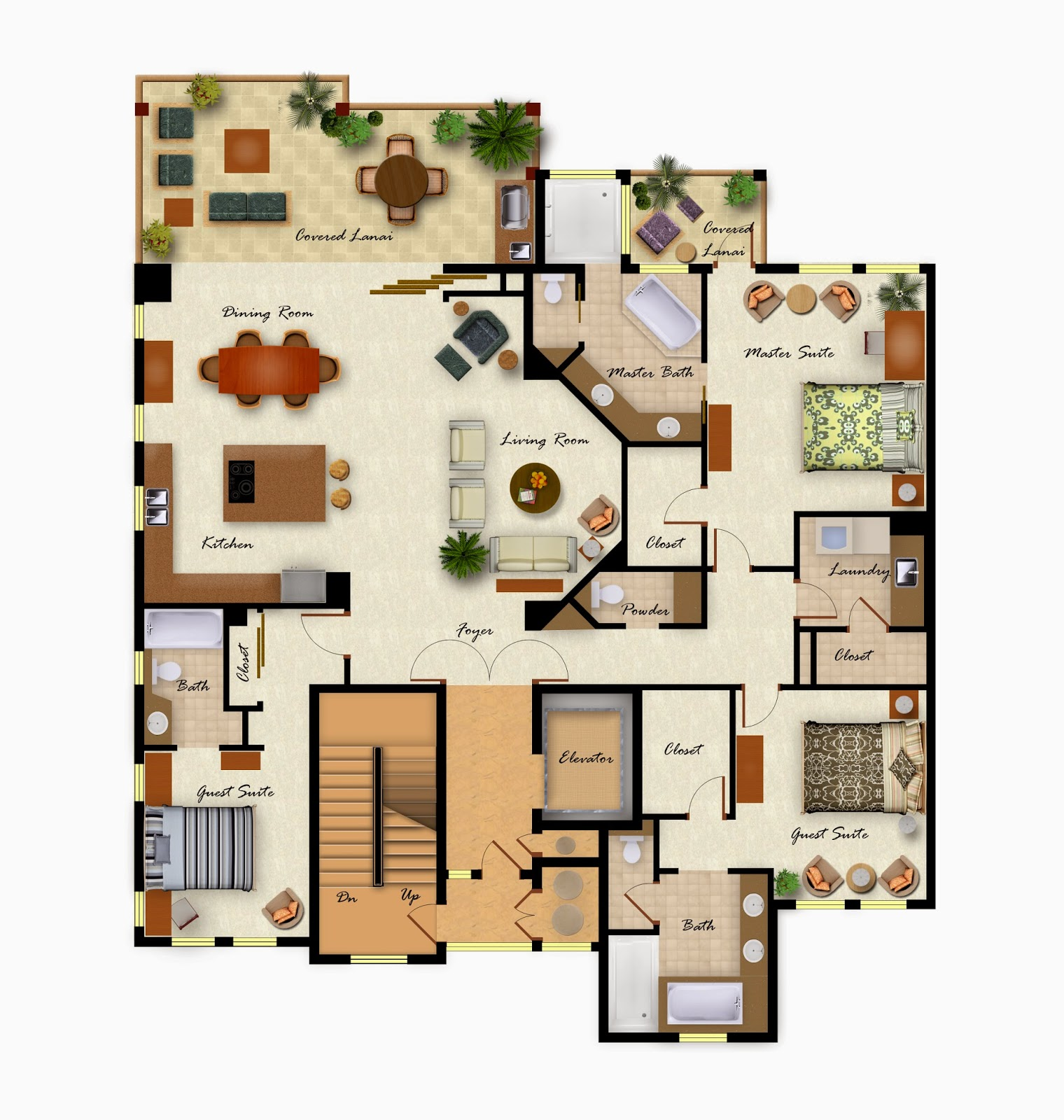 Colorful Furniture Floor Layout