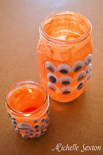 Eyeball jars with candles
