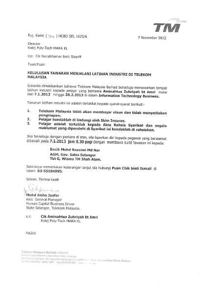 My Internship  Approval Of Intern In Tm Berhad And Report Of