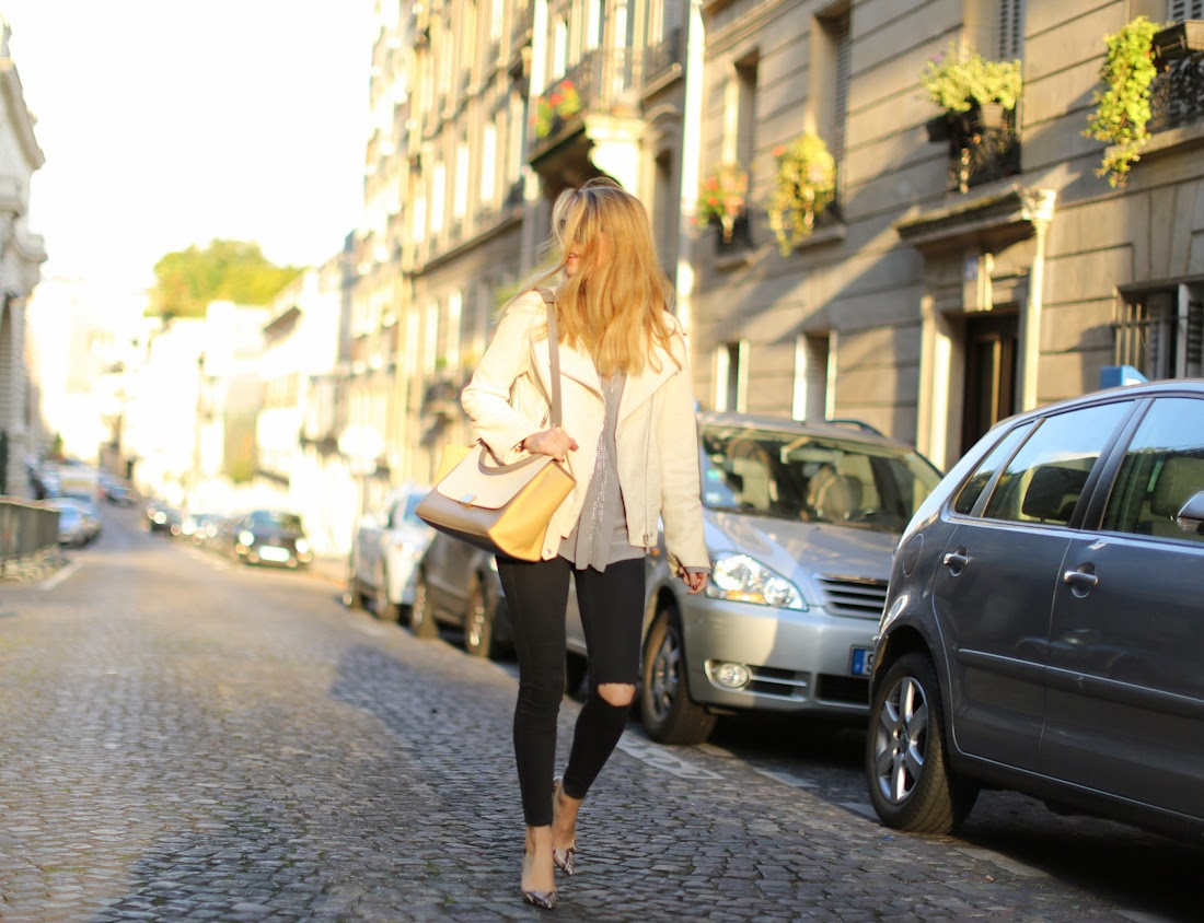 leather jacket, zara, topshop, ripped jeans, python heels, céline, gérard darel, outfit, fashion blogger, streetstyle